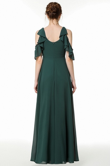 Chic Cold-shoulder Ruffle Dark Green Chiffon Bridesmaid Dresses Online_3