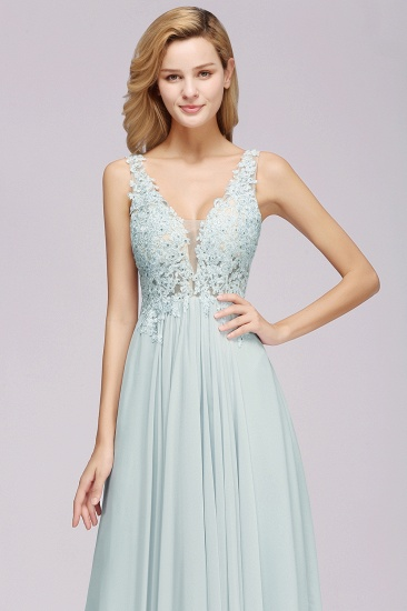 BMbridal Elegant Lace V-Neck Chiffon Affordable Bridesmaid Dress with Beadings_7