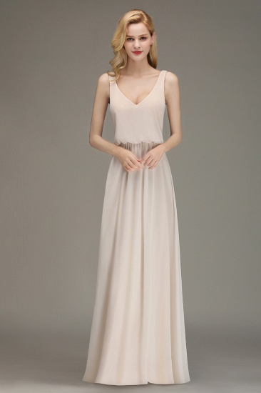 Elegant Straps V-Neck Long Affordable Bridesmaid Dresses with Ruffle_2