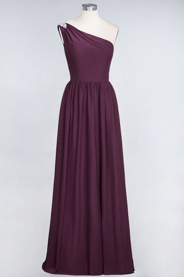 Affordable Chiffon One-Shoulder Ruffle Bridesmaid Dress with Beadings_20