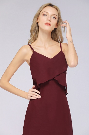 Affordable Spaghetti-Straps V-Neck Burgundy Chiffon Bridesmaid Dresses_55