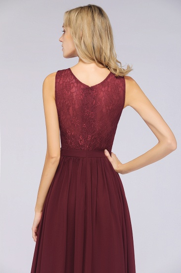 Affordable Burgundy V-Neck Ruffle Bridesmaid Dresses with Lace-Back_8