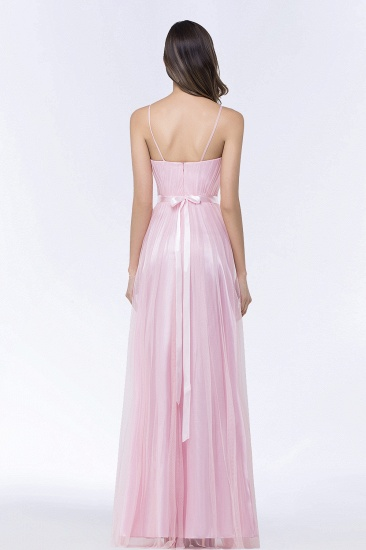 Modest Spaghetti-Straps Sweetheart Long Bridesmaid Dress with Sash_3