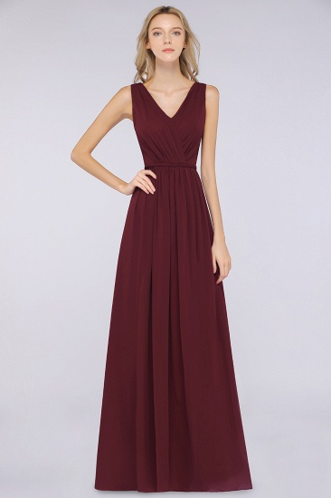 Glamorous TulleV-Neck Ruffle Burgundy Bridesmaid Dress Online_54