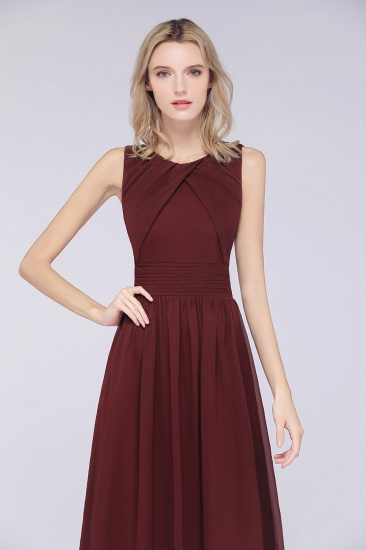 BMbridal Modest Round-Neck Sleeveless Burgundy Bridesmaid Dresses with Ruffles_8