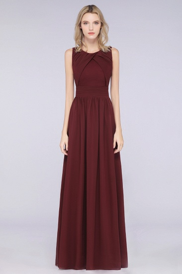 BMbridal Modest Round-Neck Sleeveless Burgundy Bridesmaid Dresses with Ruffles_4