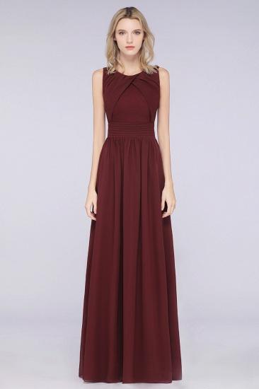 Modest Round-Neck Sleeveless Burgundy Bridesmaid Dresses with Ruffles_4
