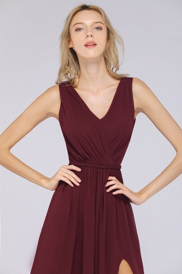 Glamorous TulleV-Neck Ruffle Burgundy Bridesmaid Dress Online_57