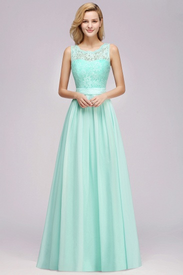 Elegant Chiffon Lace Scalloped Sleeveless Ruffle Bridesmaid Dresses_53