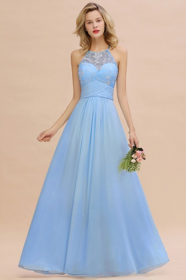 Chic Appliques Jewel Sleeveless Bridesmaid Dress