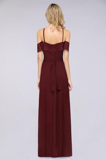 Affordable Spaghetti Straps Burgundy Long Bridesmaid Dress With Bow Sash_3