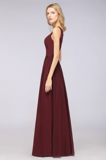 BMbridal Chic Ruffles Straps Chiffon Lace Burgundy Bridsmaid Dress Online_7