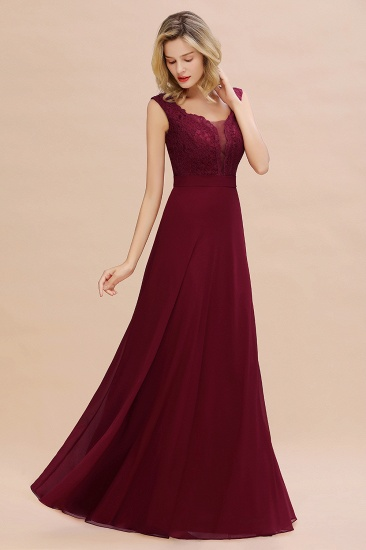 Elegant Lace Deep V-Neck Burgundy Bridesmaid Dress Cheap