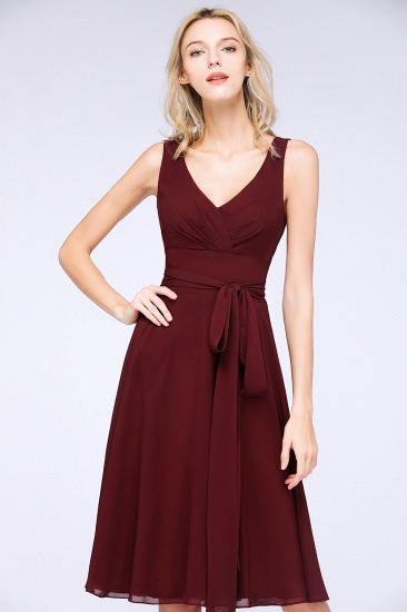 Elegant Straps V-Neck  Ruffle Short Burgundy Bridesmaid Dress with Bow Sash_5