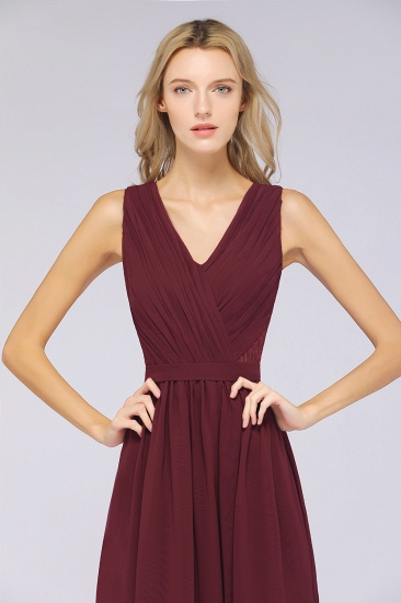 Affordable Burgundy V-Neck Ruffle Bridesmaid Dresses with Lace-Back_6