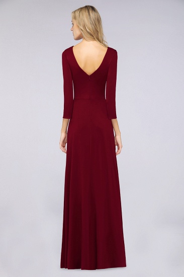 Popular Spandex Long-Sleeves Burgundy Bridesmaid Dresses with Side-Slit_32
