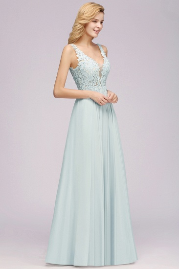 BMbridal Elegant Lace V-Neck Chiffon Affordable Bridesmaid Dress with Beadings_6