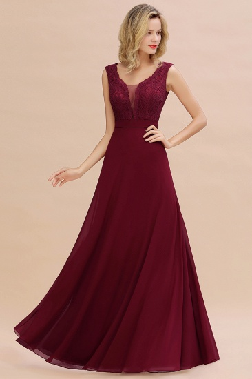 BMbridal Elegant Lace Deep V-Neck Burgundy Bridesmaid Dress Affordable_8