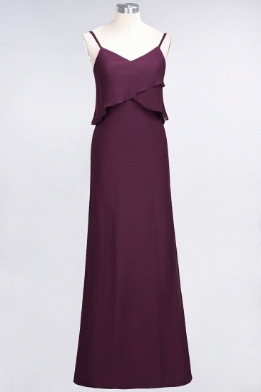 Affordable Spaghetti-Straps V-Neck Burgundy Chiffon Bridesmaid Dresses_20