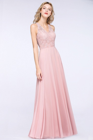 Modest V-Neck Sleeveless Pink Affordable Bridesmaid Dresses Lace_6