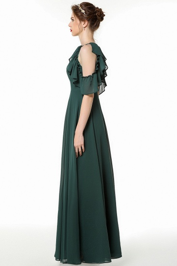 Chic Cold-shoulder Ruffle Dark Green Chiffon Bridesmaid Dresses Online_5