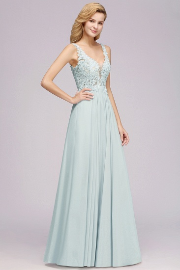 BMbridal Elegant Lace V-Neck Chiffon Affordable Bridesmaid Dress with Beadings_5