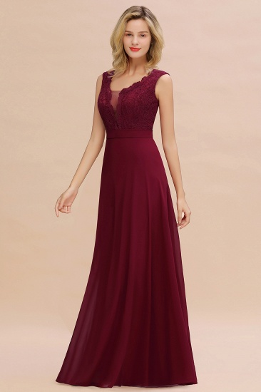 BMbridal Elegant Lace Deep V-Neck Burgundy Bridesmaid Dress Affordable_6