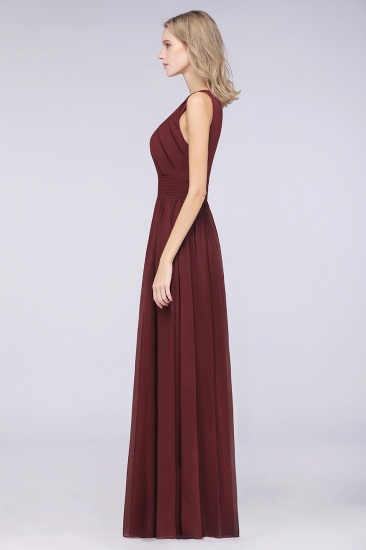 BMbridal Modest Round-Neck Sleeveless Burgundy Bridesmaid Dresses with Ruffles_6