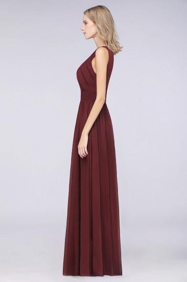 Modest Round-Neck Sleeveless Burgundy Bridesmaid Dresses with Ruffles_6