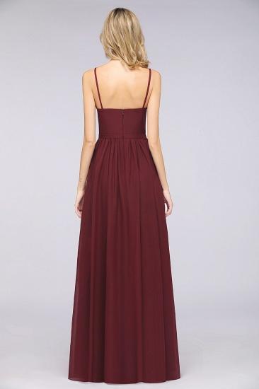 BMbridal Sexy Deep-V-Neck Appliques Burgundy Chiffon Bridesmaid Dress with Slit_3