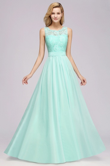 Elegant Chiffon Lace Scalloped Sleeveless Ruffle Bridesmaid Dresses_54