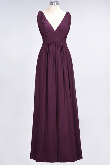 Elegant V-Neck Burgundy Chiffon Cheap Bridesmaid Dress with Ruffle_20