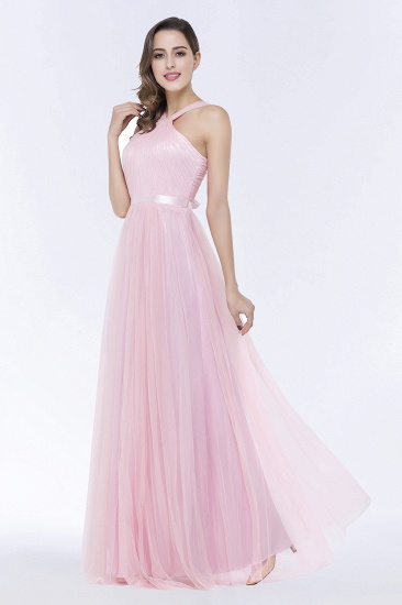 BMbridal Chic Tulle Ruffle Halter Sleeveless Pearls Bridesmaid Dress with Sash_6