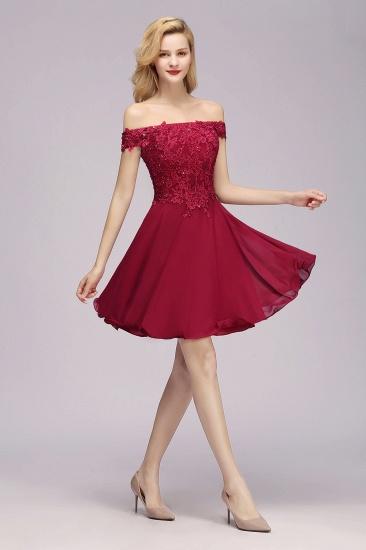 Gorgeous Lace Off-the-shoulder Short Burgundy Bridesmaid Dresses Online_5
