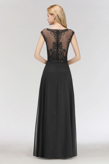 BMbridal Elegant Chiffon Long Lace Black Bridesmaid Dresses Online_3