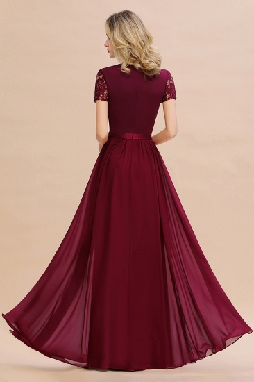Elegant Chiffon Lace Jewel Short-Sleeves Affordable Bridesmaid Dress_52