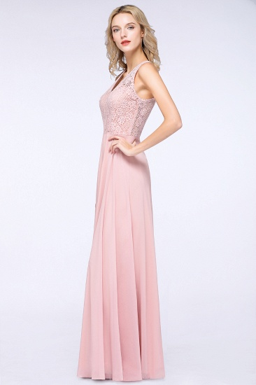 Modest V-Neck Sleeveless Pink Affordable Bridesmaid Dresses Lace_5