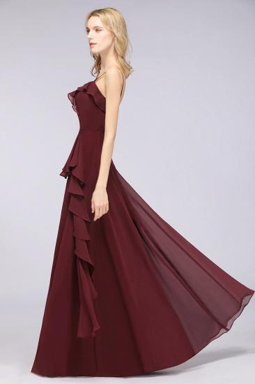 Elegant Spaghetti Straps Ruffle Burgundy Chiffon Dresses Affordable_56