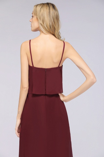 Affordable Spaghetti-Straps V-Neck Burgundy Chiffon Bridesmaid Dresses_56