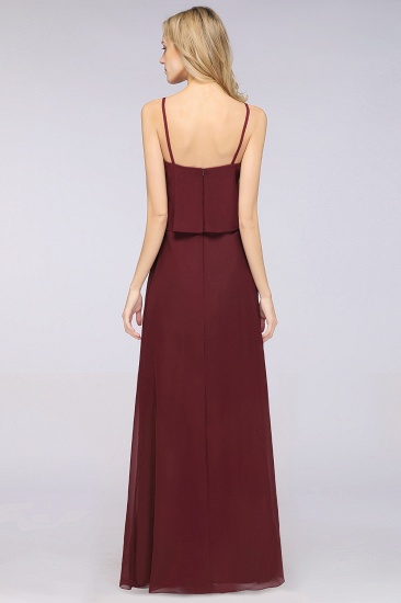 Affordable Spaghetti-Straps V-Neck Burgundy Chiffon Bridesmaid Dresses_52