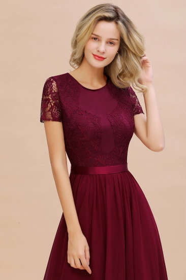 Elegant Chiffon Lace Jewel Short-Sleeves Affordable Bridesmaid Dress_58