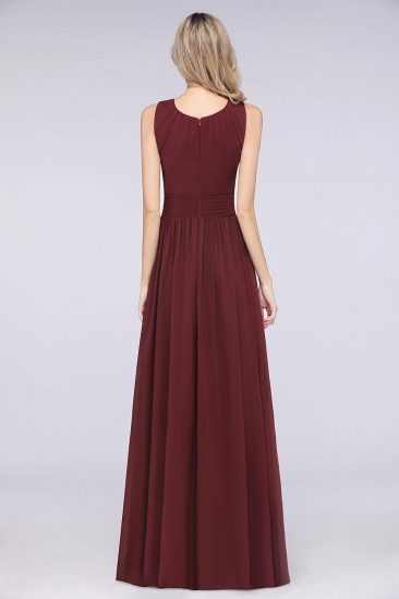 BMbridal Modest Round-Neck Sleeveless Burgundy Bridesmaid Dresses with Ruffles_3