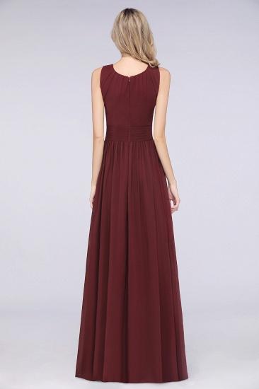Modest Round-Neck Sleeveless Burgundy Bridesmaid Dresses with Ruffles_3