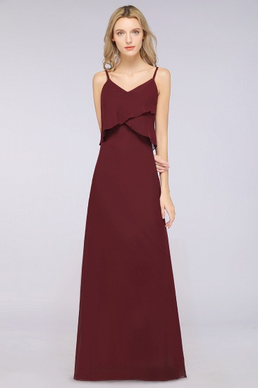 Affordable Spaghetti-Straps V-Neck Burgundy Chiffon Bridesmaid Dresses_51