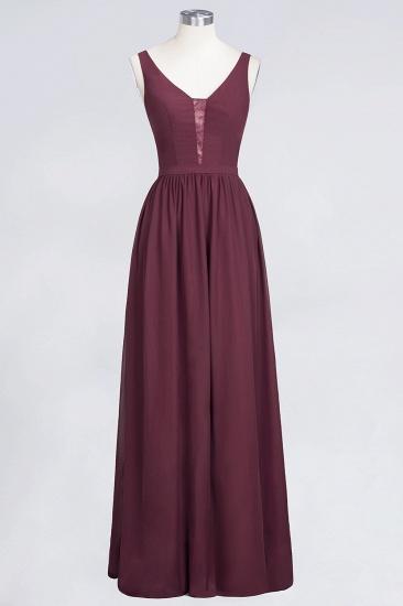 BMbridal Chic Ruffles Straps Chiffon Lace Burgundy Bridsmaid Dress Online_10