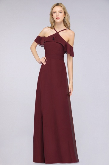 Affordable Spaghetti Straps Burgundy Long Bridesmaid Dress With Bow Sash_4