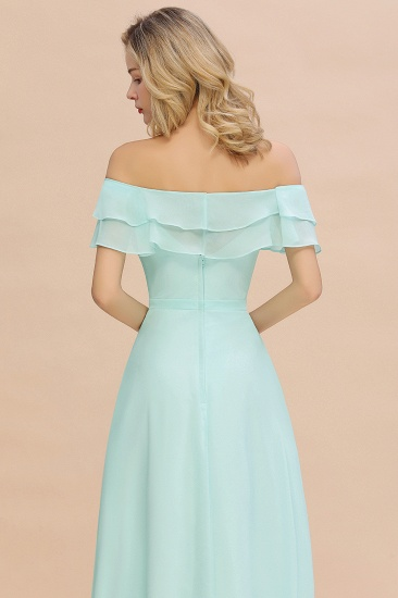 Exquisite Off-the-shoulder Slit Mint Green Bridesmaid Dress With Pockets_58