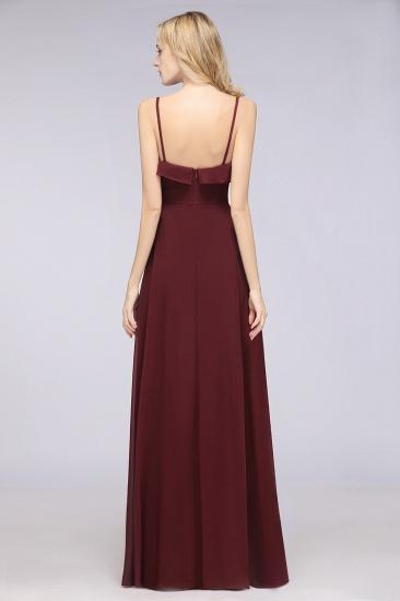 Elegant Spaghetti Straps Ruffle Burgundy Chiffon Dresses Affordable_52