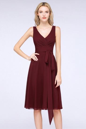 Elegant Straps V-Neck  Ruffle Short Burgundy Bridesmaid Dress with Bow Sash_4