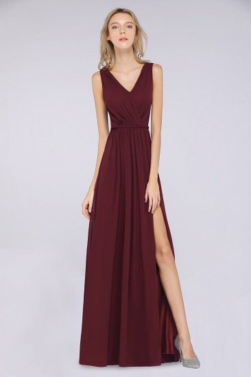 Glamorous TulleV-Neck Ruffle Burgundy Bridesmaid Dress Online_53